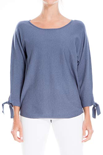 Max Studio Damen Tie Sleeve Boatneck Sweater Sweatshirt, blau, X-Groß