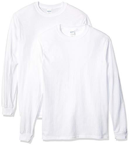 GILDAN Men's Heavy Cotton Long Sleeve T-Shirt, 2-Pack, White, XL