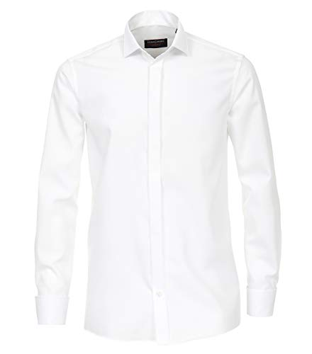 Casa Moda Comfort Fit smoking overhemd dubbele manchet, wit wing kraag Strijkvrij - Maat 48