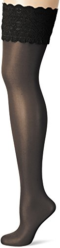 Wolford Women's Satin Touch 20 Stay Up Tights, Black, Large