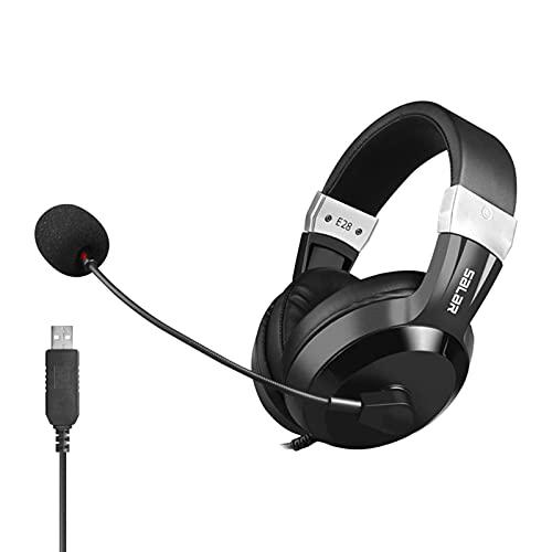 MERIGLARE Auriculares Comfort Exams con Micrófono para Educación Computadora PC - Versión USB