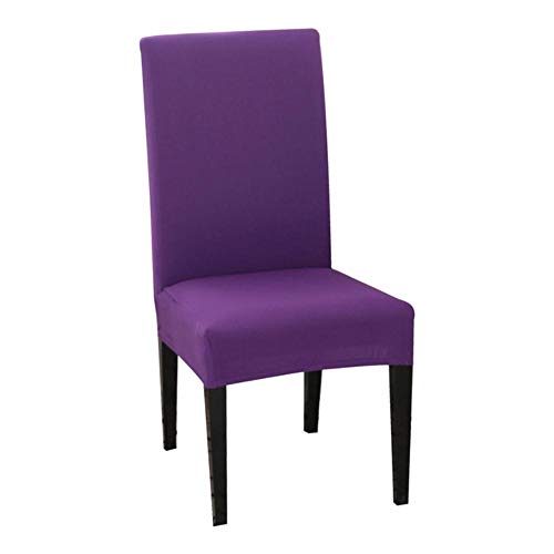 LLAAIT 1/2/4/6PCS Solid Color Chair Cover Spandex Stretch Elastic Slipcovers Dining Room Chair Covers For Banquet Hotel Kitchen Wedding,purple,China