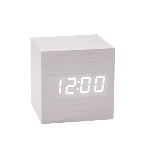 Oyria Reloj de Coche Mini Reloj Despertador Cuadrado Control de Voz Temporizador Calendario Parabrisas Luminoso Accesorios de Coche Mini Reloj de Pantalla LCD portátil