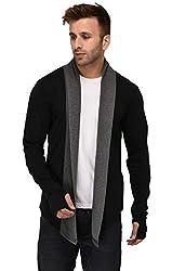 DENIMHOLIC Mens Cotton Thumb-Hole Open Long Full Sleeves Cardigan