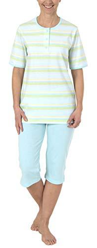 Damen Capri Pyjama Schlafanzug Kurzarm in zarter pastellfarbenen Streifenoptik 204 90 863, Farbe:hellblau, Größe2:48/50