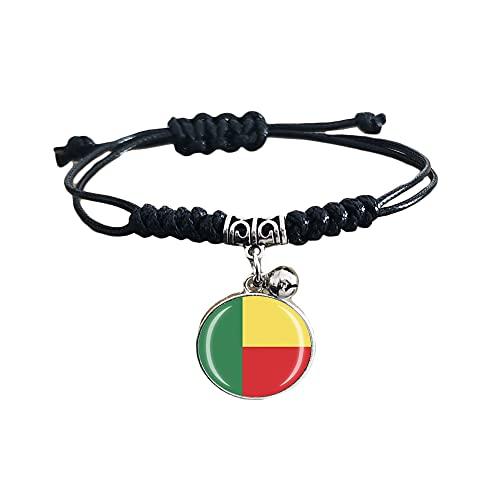 Pulsera de cuero ajustable estilo bandera de Benin regalo de recuerdo de viaje pulsera de moda