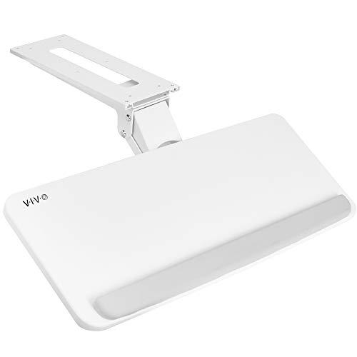 VIVO Adjustable Computer Keyboard and Mouse Platform Tray Ergonomic Under Table Desk Mount Drawer Underdesk Shelf, White, MOUNT-KB03W