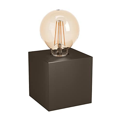 EGLO Lámpara de mesa Prestwick 2, 1 lámpara de mesa industrial, lámpara de noche de metal, lámpara de salón en bronce oscuro, lámpara con interruptor, casquillo E27