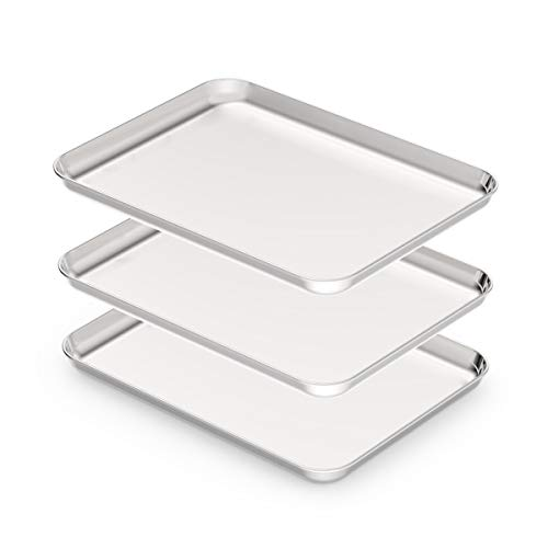 Stainless Steel Baking sheets Set 3, HEAHYSI Baking Pans for Oven 3 Pieces & Cookie Sheets Set, Rectangle Size 12.5×9.8x1inch,Non Toxic & Healthy,Superior Mirror Finish & Easy Clean, Dishwasher Safe