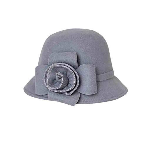 Sunny Fedora-hoed van natuurvezel, met driedimensionaal bloemenaccent voor dames, kerken, derby-party-mode one_size grijs