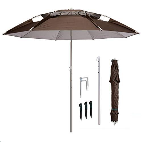PARASOL Brown Beach Umbrella, Outdoor Garden Umbrell with Tilt Mechanism for Patio/Beach/Pool Umbrellas (Portable)