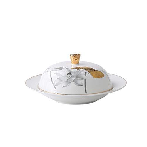 JR2021FF Soporte de Mantequilla de Porcelana, Plato de Mantequilla de cerámica Pintada a Mano a Mano con Tapa, Plato de Mantequilla Redonda Duradera con Tapa (Color : B, Size : C)