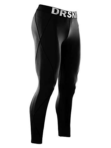 DRSKIN Compression Cool Dry Sports Tights Pants Baselayer Running Leggings Yoga Rashguard Men (S, DABB11) Black
