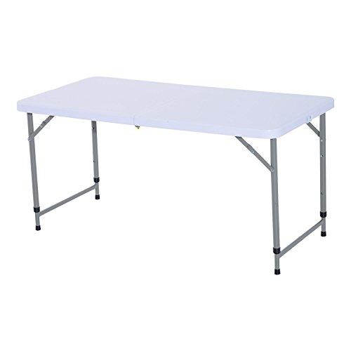 Outsunny Tavolo da Giardino Picnic Campeggio Pieghevole Portatile Regolabile in PE Acciaio 122 x 61x 59 74cm