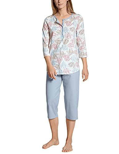 CALIDA Damen Tender Nights 3/4 Pyjamaset, Blue Fog, 40-42