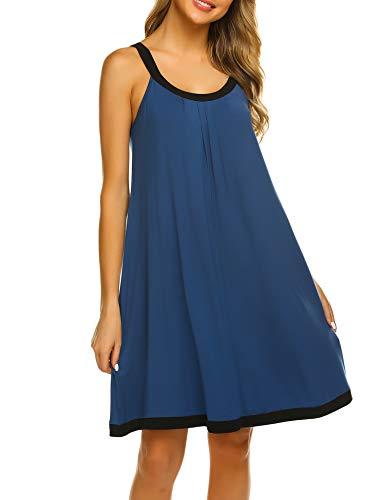 Ekouaer Sleeveless Mini Nightgowns Women's Summer Loose Fit Tank Top Nightgown Sleepwear Dress (Navy, XX-Large)