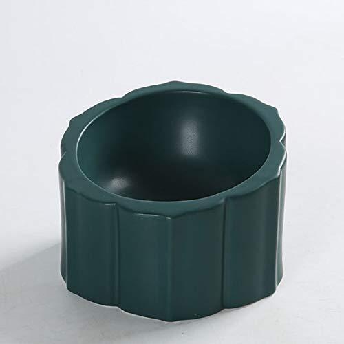 猫の碗の陶磁器の高い足が斜めになって頚椎の猫の食器を保護します猫食器 猫フードボウル 猫 餌入れ 陶器製 15度傾斜 適当な高さ…(グリーン)