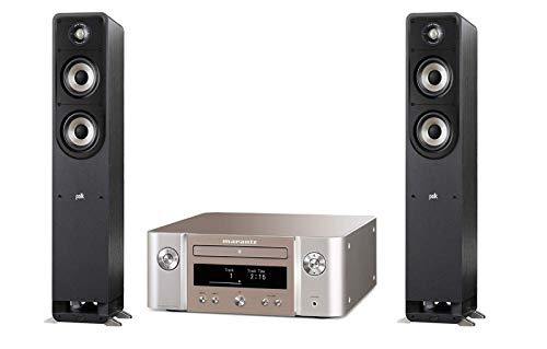 Marantz Melody X (M-CR612), HiFi-Netzwerk-System (2X 60 Watt, HEOS, Alexa Kompatibel, Spotify, Amazon Music) silber-gold + Polk Audio S50E Signature E Series Standlautsprecher, schwarz