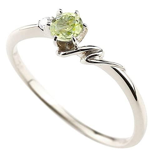 [アトラス]Atrus 指輪 レディース sv925 スターリングシルバー ペリドット ダイヤモンド イニシャル ネーム N ピンキーリング 華奢 アルファベット 8月誕生石 17号