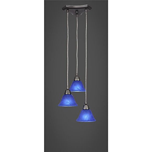 "Toltec Europa 3 Light Multi Light Mini Pendant in Brushed Nickel with 7"" Blue Italian Glass"