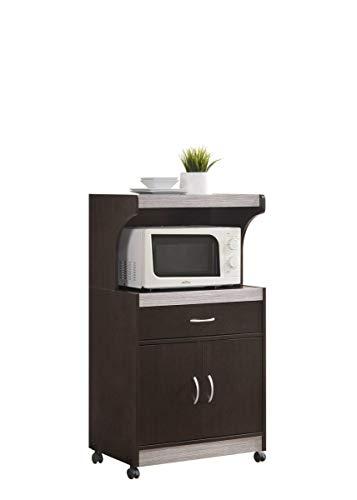 Hodedah Microwave Kitchen Cart, Chocolate-Grey