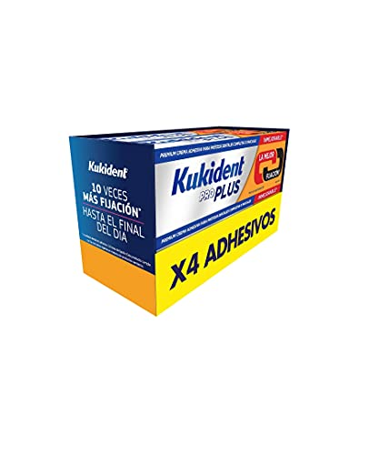 Kukident Pro Plus Adhesivo para Prótesis Dental, Pack de 4x40 gr, Doble Acción