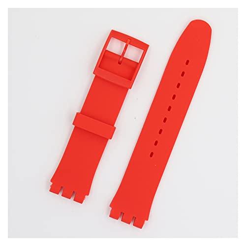 LIANYG Correa De Reloj Reloj de reemplazo Banda roja Negra Correa de Banda 17mm y 19 mm 20mm 493 (Band Color : Red, Band Width : 20mm)