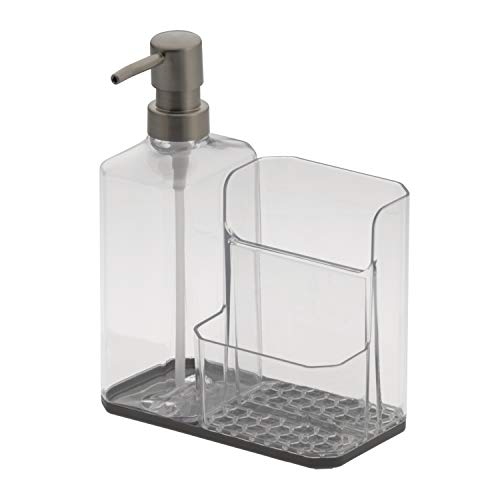 Spectrum Diversified Hexa Sponge & Brush Kitchen Organizer with Refillable Soap Pump, Sponge & Dish, Easy-Clean Sink Organization & Dish Brush Holder with Removable Base, Clear Gray