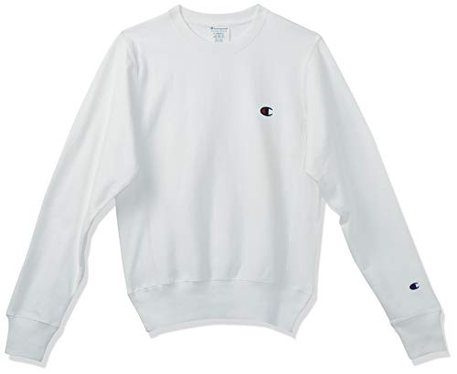 Champion LIFE Men's Reverse Weave Sweatshirt,White/Left Chest