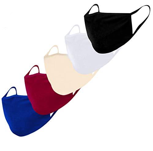 KUNSTIFY Mascherine lavabile uomo donna colorate in tessuto | 5 pezzi in colori alla moda nero, bianco, rosso, blu, beige | copertura per bocca e naso in morbido cotone