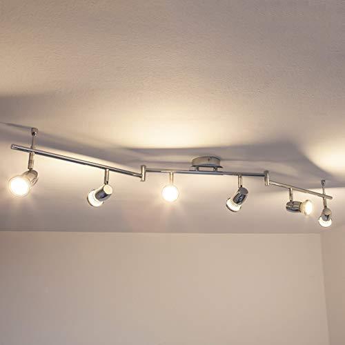 Lindby LED Deckenleuchte 'Arminius' (Modern) in Chrom aus Metall u.a. für Wohnzimmer & Esszimmer (6 flammig, GU10, A+, inkl. Leuchtmittel) - Lampe, LED-Deckenlampe, Deckenlampe, Wohnzimmerlampe