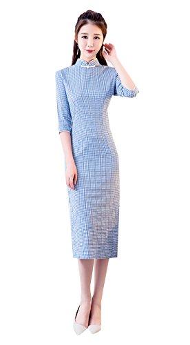 XueXian(TM) Mujer Vestido Cheongsam Medio de Estilo Chino Estampado de Cuadro Blanco de Azul(Azul,EU 40/China XL:Busto 92CM)