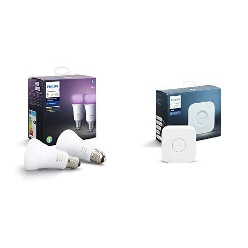 Philips Hue Ampoules LED Connectées White & Color Ambiance E27 Compatible Bluetooth, Compatible avec Alexa Pack de 2 + Philips Hue Pont de Connexion - Compatible avec Alexa - Compatible