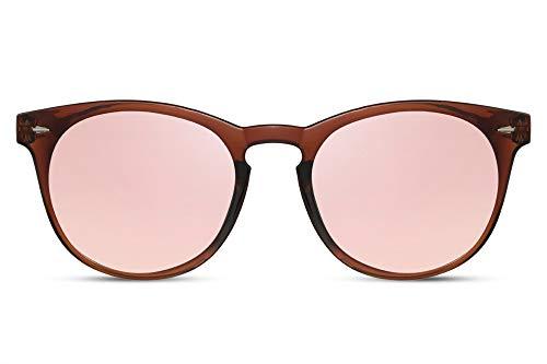 Cheapass Sonnenbrille Rund Braun Pink Verspiegelt UV-400 Exklusive Brille Hipster Plastik Damen Herren