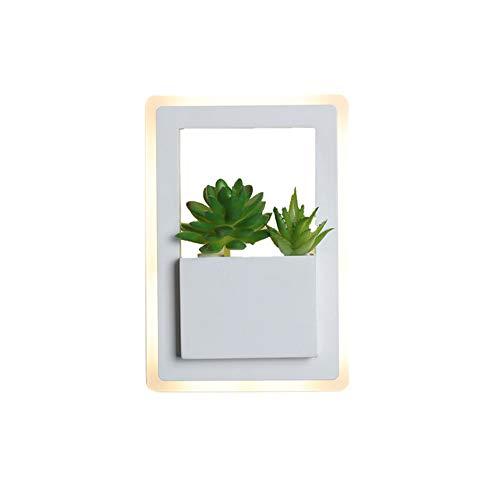 JJRPPFF Lámpara de Pared LED de Planta Verde Creativa, lámpara de Noche de Dormitorio Minimalista nórdico, iluminación de Pared de Fondo de TV de Sala de Estar Moderna, Accesorio de Pasillo de Hotel