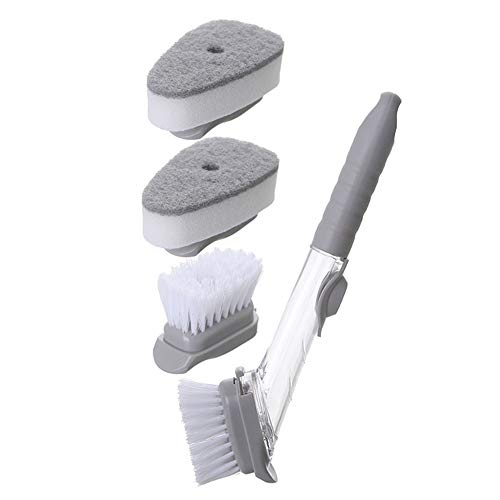 SXYB Mehrzweckküche Reinigungsbürste, 2 in 1 Funktion PP Material Dekontamination TPR rutschfeste Griff Abnehmbare Schwammspender Spülmaschine