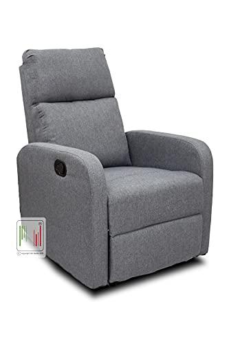 Stil Sedie Poltrona Relax reclinabile Tessuto Manuale Tre Livelli di Posizione Modello Serena (Grigio)