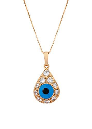 Remi Bijou Halskette Anhänger Tropfen Blaues Auge Türkisch Nazar Boncuk Gold Farbe