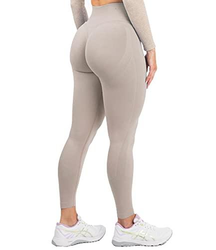 DUROFIT Leggings Sportivi da Donna Push up Pantaloni Anticellulite Vita Alta Yoga Pants Elastico Fitness Palestra Calzamaglie e Leggings Sportivi Marrone S