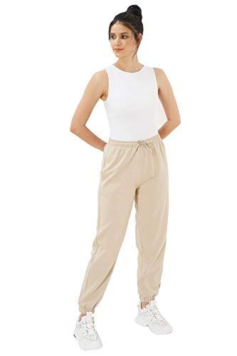Eoselio Loungewear Damen Freizeit Solide Activewear Komfortable Übergröße Jogger Jogginghose Trainingshose (Beige, Medium)