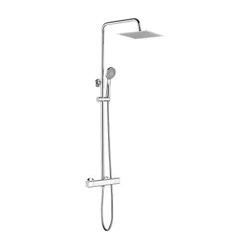 Ibergrif M20741, thermostaatzuil, handsysteem, slang, verstelbare douchestang en houder, chroom, zilver