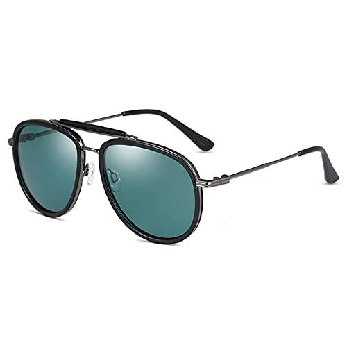 HNGM Gafas de Sol Gradiente clásico Retro TR90 Frame Gafas de Sol Polarized Men's Driving Gafas de Sol (Lenses Color : Black Gray Green)