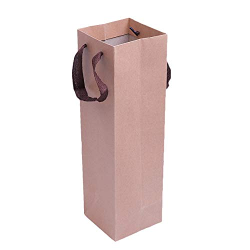 TOYANDONA 10pcs Kraft Wine Bottle Gift Bags with Handles Paper Wine Carrying Bags Gift Bag Tote Bag for Dinner Housewarming Weddings Parties (Khaki)