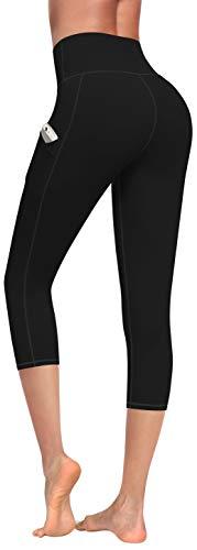 Lingswallow High Waist Yoga Pants - Yoga Pants with Pockets 4 Ways Stretch, Tummy Control Workout Yoga Leggings for Women (Capris Black, Medium)