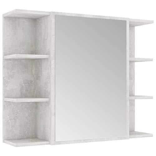 vidaXL Bad Spiegelschrank Badspiegel Badschrank Wandschrank Spiegel Wandspiegel Badezimmerschrank Schrank Betongrau 80x20,5x64cm Spanplatte