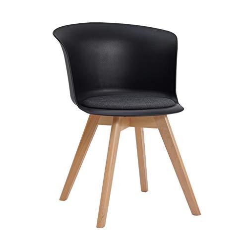 HLQW - Silla de respaldo nórdico con almohadilla de madera maciza, moderna, minimalista, creativa, única (color: negro)