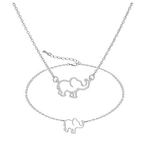 YANCHUN 2 Pieces Lucky Elephant Necklace Dainty Elephant Bracelet for Women Charm Elephant Pendant Necklace Jewelry Set BFF Gift for Girls NB-Elephant-Silver