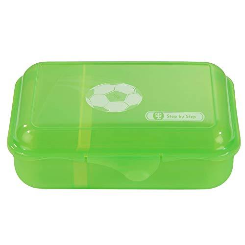 """Step by Step Lunchbox """"Soccer Star"""", grün, mit Trennwand und Klickverschluss, spülmaschinenfest, BPA-frei, für Schule und Kindergarten, für Jungen und Mädchen, 0,9 Liter"""