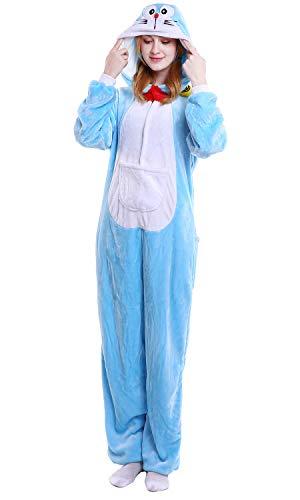 YAOMEI Adulto Unisexo Onesies Kigurumi Pijamas, Mujer Hombres Traje Disfraz Animal Pyjamas, Ropa de Dormir Halloween Cosplay Navidad Animales de Vestuario (L, Doraemon)