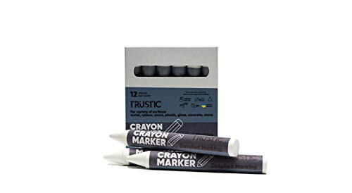 Trustic Universal Crayon Wax Marker for Industrial and Craft Detailed Marking on Lumber Metal Carton Ceramics Concrete Glass Plastic Tire, Pack of 12 (White)